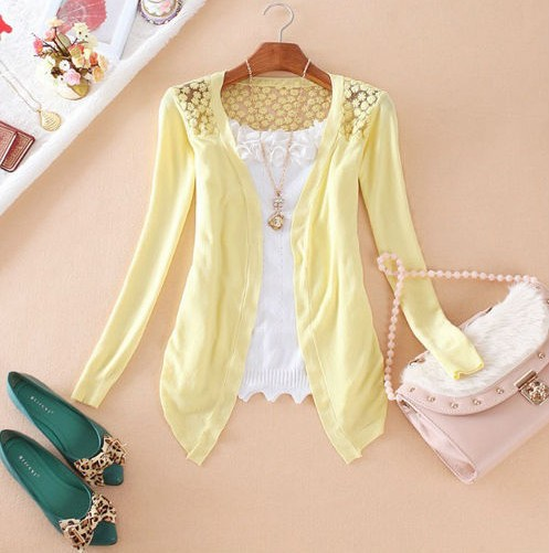 Ctrlstyle Fashion clothes women clothing new Spring 2015 Lace Sweet Crochet Knit Blouses Sweater Cardigan lace blouse jacket(China (Mainland))