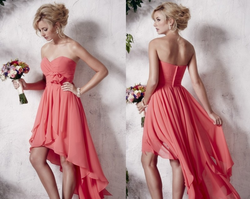Free Shipping Sweetheart Flower Coral Colored Bridesmaid Dresses High Low For Wedding Party