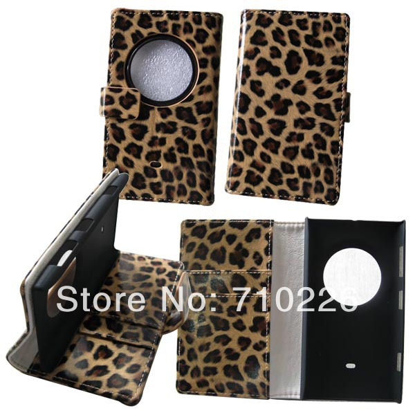 Wallet Stand Leopard Design Card slot Holder PU Leather Flip Case Cover Nokia Lumia 1020 - Accessory for Cell Phone Button Battery store