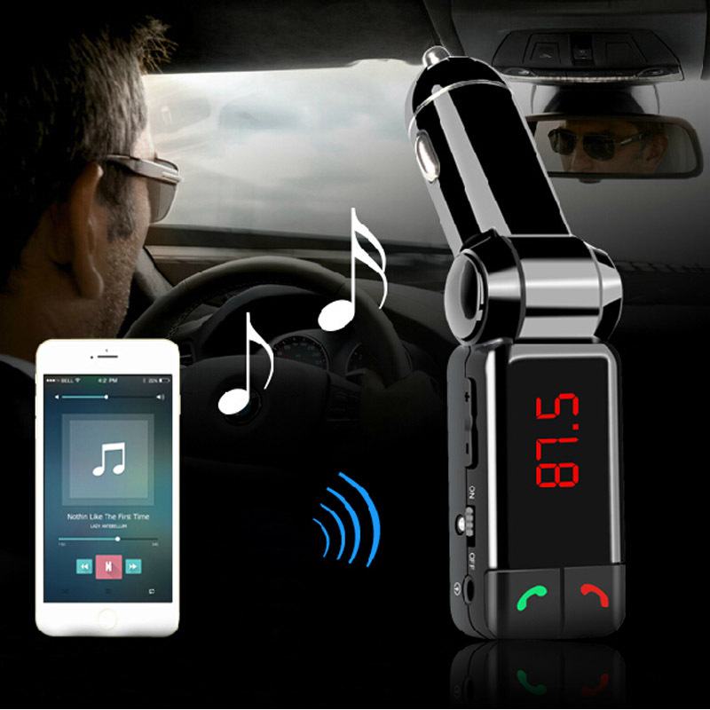 2015 New LCD Bluetooth Car Kit MP3 FM Transmitter USB Charger Handsfree For iPhone HIgh Quality 50PCS free dhl(China (Mainland))