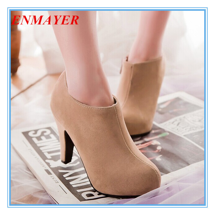 ENMAYER new 2015 fashion Round Toe Thin Heels Ankle boots for women wedding shoes platform pumps boots big size 34-43<br><br>Aliexpress