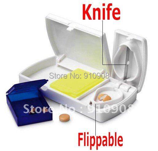 Medicine Splitters Pill Case With Cutter Pill Cutter(China (Mainland))