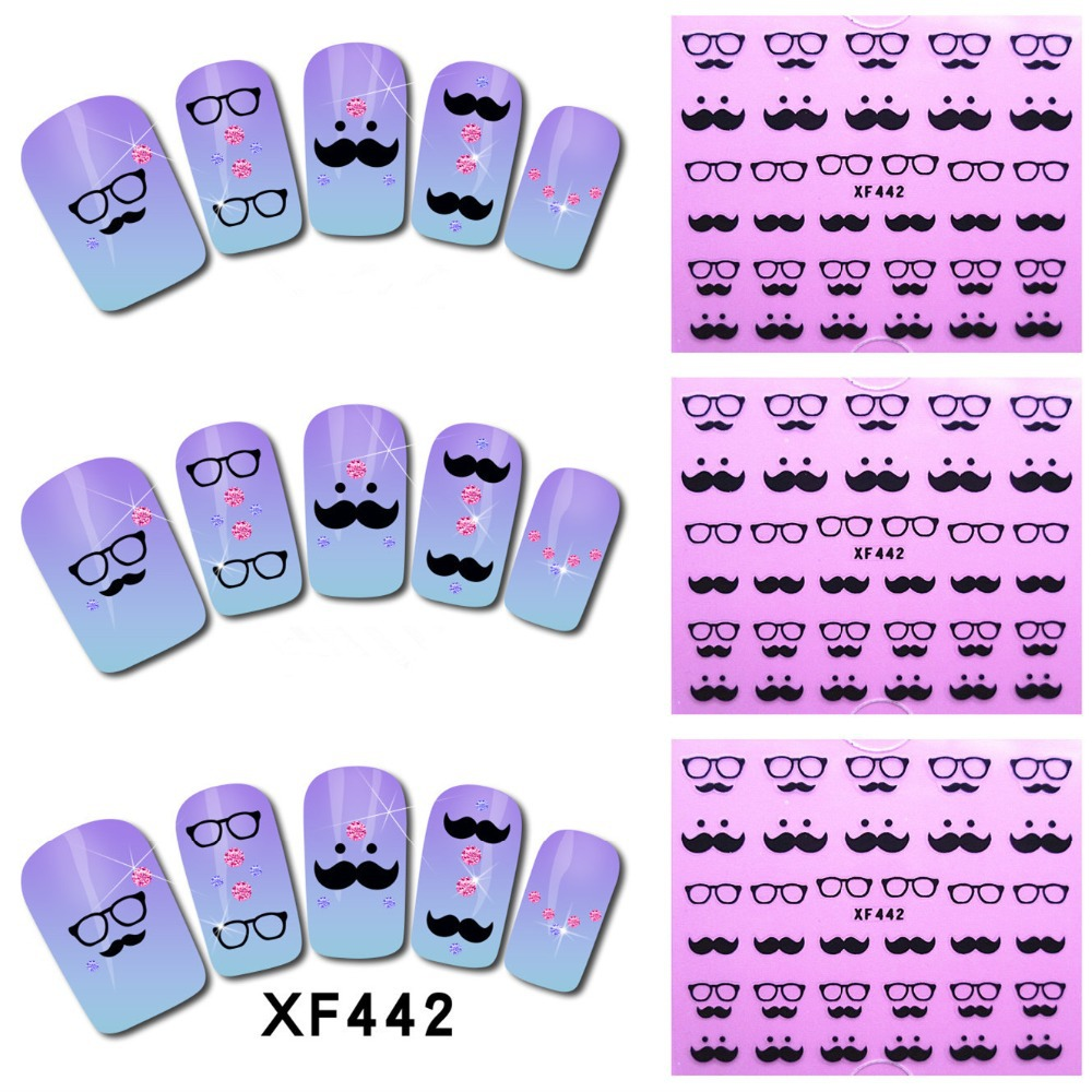 Гаджет  [NR-XF442]1 Sheet New Nail Art  Moustache Stickers Decals Water Transfer Wraps Decorations Manicure Care Tools  None Красота и здоровье
