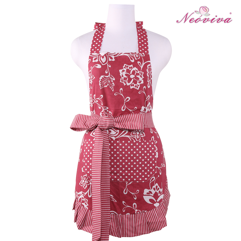 NEOVIVA Free Shipping Cotton Sassy Kitchen Cooking Floral Red Apron for Women with Pocket and Long Thick Double Layer Tie(China (Mainland))