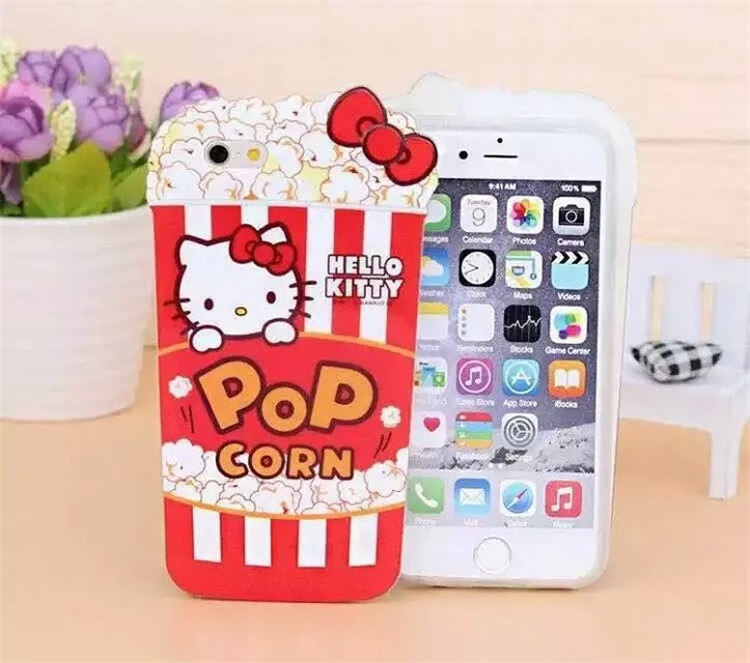 Free shipping New arrival product popcorn 3D kawaii Cartoon Hello Kitty case for iPhone 5 5s 6 6plus soft TPU cover case(China (Mainland))