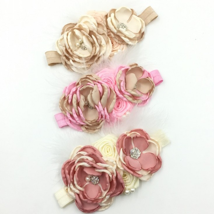 Free shipping crystal &amp; pearls center Layered Poppy Flower Feather lace Headband hairbands Princess floral lace Headbands<br><br>Aliexpress