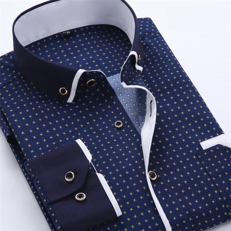 Men Dress Shirt 2016 Spring New arrival Button Down Collar High Quality Long Sleeve Slim Fit Male Business Shirts M-5XL YN02611
