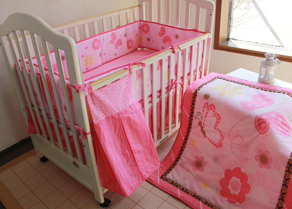 Promotion! 5pcs embroidered baby bedding set baby cot crib bedding set ,include(bumper+duvet+bed cover+bed skirt+diaper bag)<br><br>Aliexpress