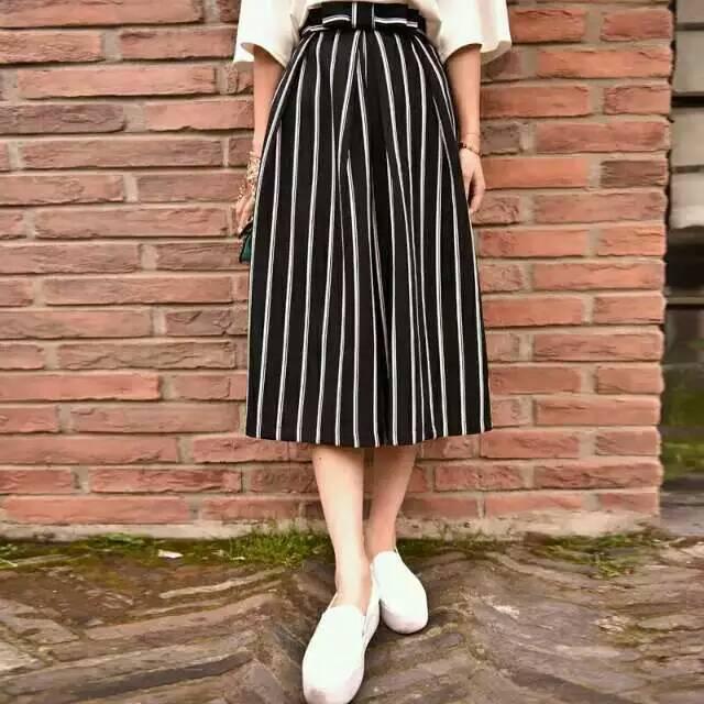 Latest Fashion Japanese Magazine White and Black Striped Bow High Waist Cropped Wide Leg Trousers Girls Pants Gift Free Shipping(China (Mainland))