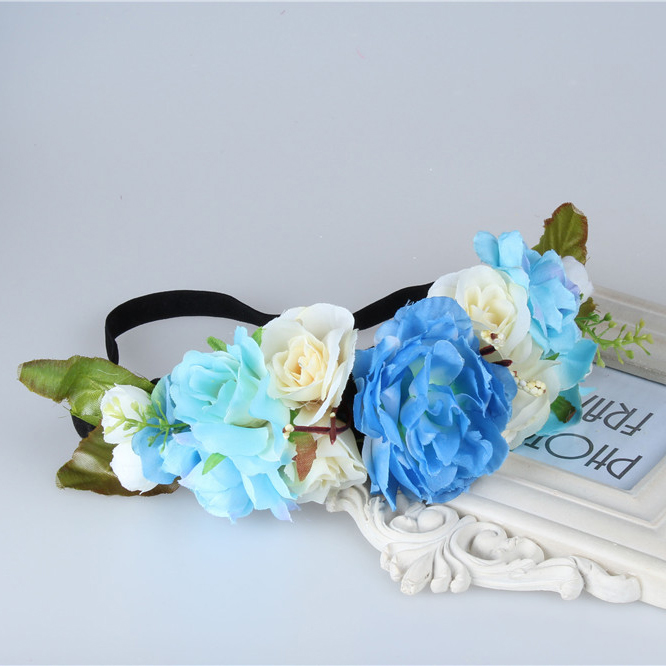 free shipping Bride Headband Wedding Rose Flower Wreath headband Party Floral garlands flower crown Hair Accessories
