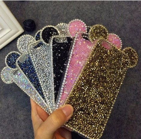 3D Micky Shinny Mouth Ear Glitter TPU Diamond Crystal Shell Cover For APPLE iPhone 6 s 6plus 6s plus New Hot Fashion Phone Cases(China (Mainland))