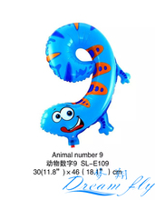 Free Shipping 19inch Animals number 9 balloon Number Figure Balloon for Party Decoration 50pcs/lot