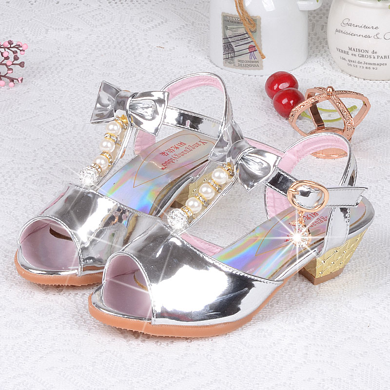 Personality Diamond Shiny High Heels For Girls Golden Buckles Children's Shoe Silver Noble Princess Sandals Dream Enfant(China (Mainland))