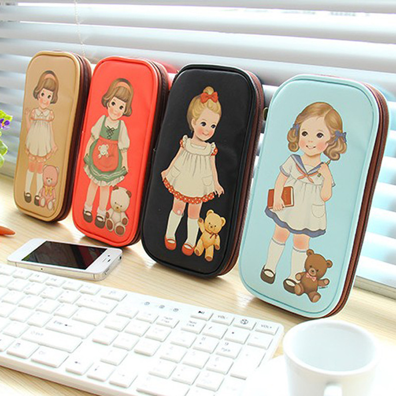 Lovely doll cartoon necessaries makeup bag long multifunctional cute girls cosmetic bag santoro free shipping(China (Mainland))