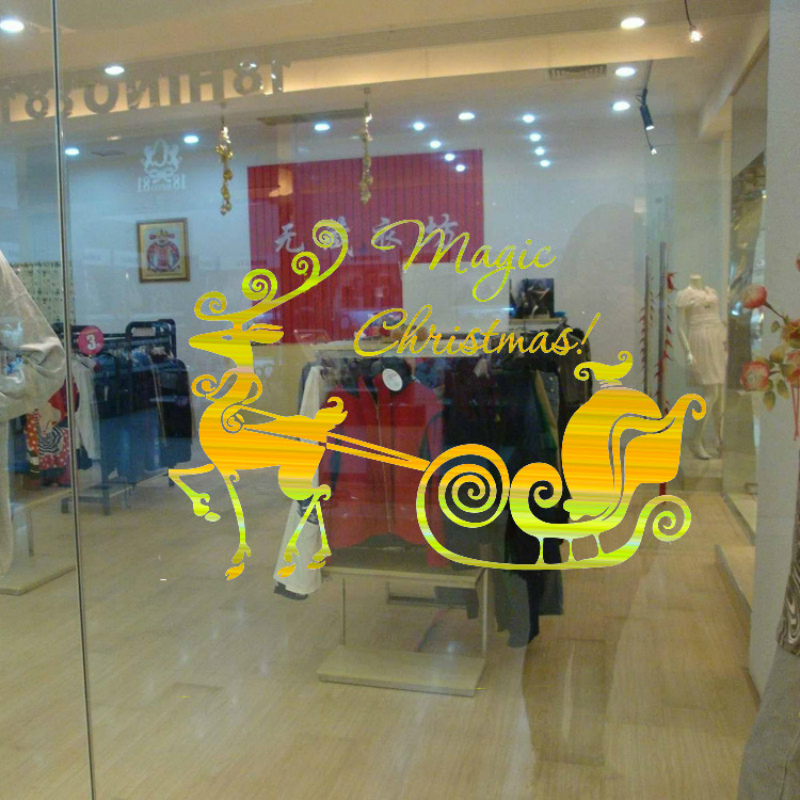 Hot Style Fashion Christmas Sled Background Golden Window Wall Stickers Can Be Removed Wallpaper Pvc good quality Wall Decor(China (Mainland))