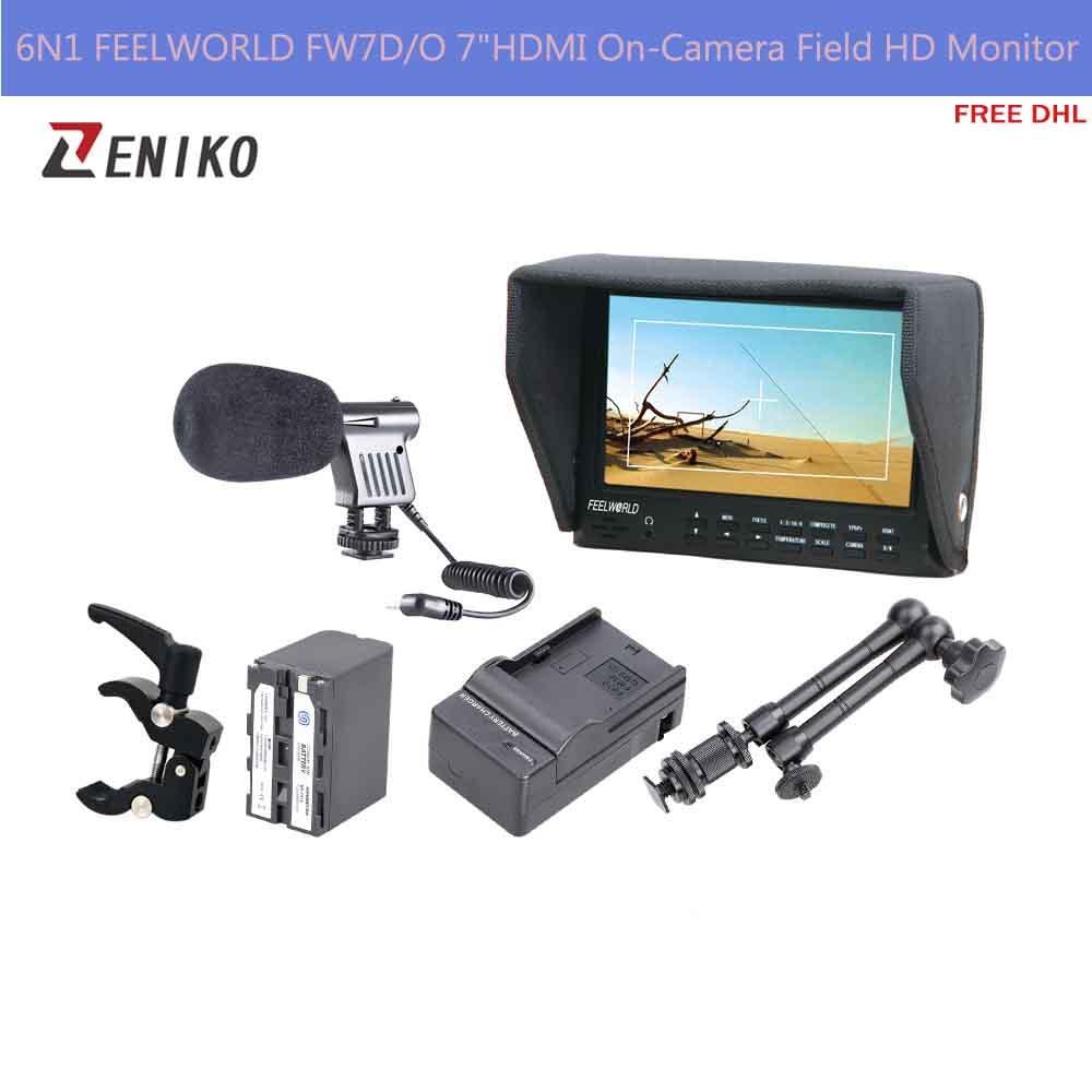 Free DHL 6N1 FEELWORLD FW7D/O 7HDMI On-Camera Field HD Monitor + Battery w/Charger + Magic Arm+ Super Clamp + Microphone<br><br>Aliexpress