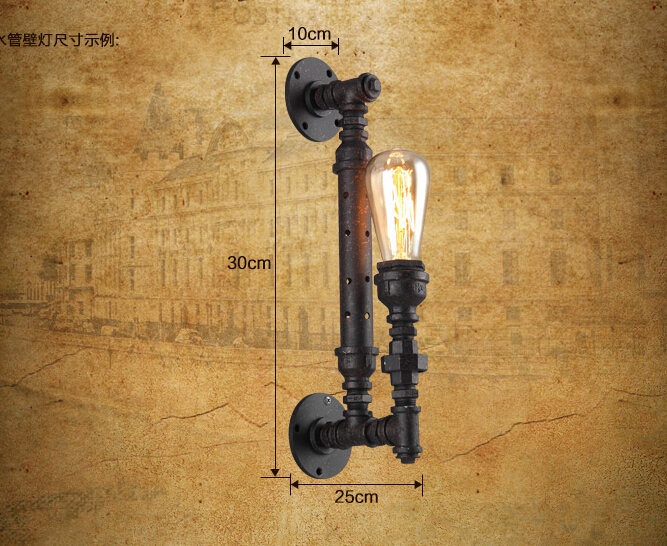 Vintage industrial pipe wall lamps sconce lights home decoration e27