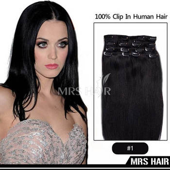 "1# Jet Black Indan Remy Clip in Hair Extensions 7pcs/set 14"" 16""18"" 20"" 22"" Soft SilKy Straight Human Hair Clip Hair Extension"