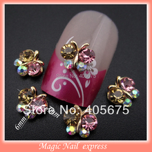 MNS269 New arrive 3d nail jewelry butterfly nail art strass rhinestones floating locket charms DIY nail accessories 10pcs(China (Mainland))