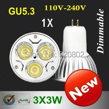 1pcs/lot High Power GU5.3 GU10 MR16 E27 E14 B22 3X3W 9W LED Light LED bulb LED lamp 110-240V (110V 220V) free shipping(China (Mainland))