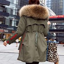 New 2017 coat Women parka autumn Winter Jacket Women Raccoon Fur Collar Lady Parka women Real fur feminine Coat female(China (Mainland))