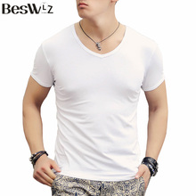 New Arrival Fashion Summer Sport Men's T-Shirt Cotton Short-Sleeved V-Neck Solid Tiger Design Male Tops Clothes 6600
