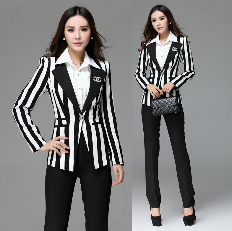 New 2014 Uniform Style Formal Office Ladies Work Wear Suits Blazer And Pants Autumn Winter Professional Business Suits S-4XLОдежда и ак�е��уары<br><br><br>Aliexpress