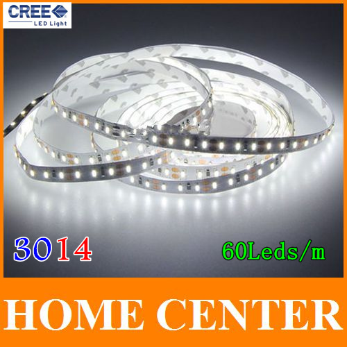 5M SMD 3014 300Leds 60leds/m LED strip light DC 12V white warm white red green bule yellow with tracking number(China (Mainland))