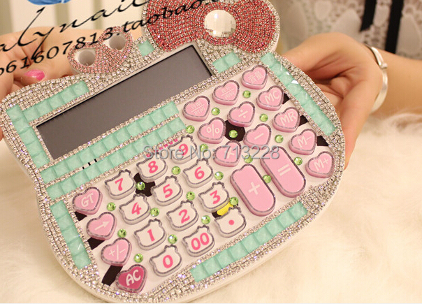Korea style Cute Luxury Hello Kitty Jelly Crystal Diamond KT Pink Solar calculator counter Hot sale Free shipping Mix Order(China (Mainland))