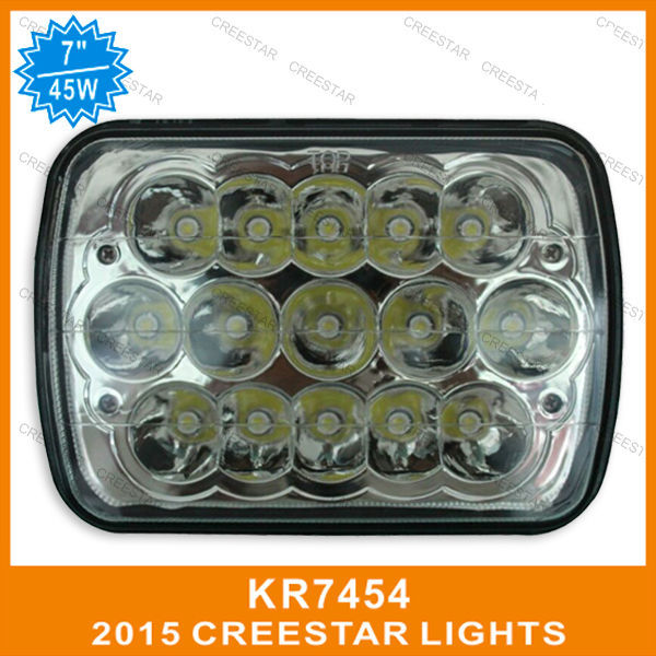 7x6 inch led headlights used for truck IP68 waterproof 45W 3w Epistar led high/low beam working lights motorcycle lights(China (Mainland))