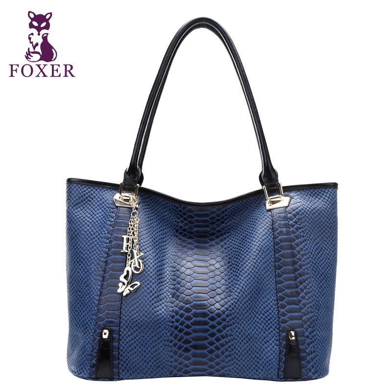 Foxer Shoulder & Crossbody Bags High Quality Luxury Tote Bags Woman Cowhide Women Leather Handbags