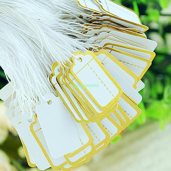 500pc Tie String Jewelry Cloth Display Price Tags Golden Border White Label ES1053(China (Mainland))