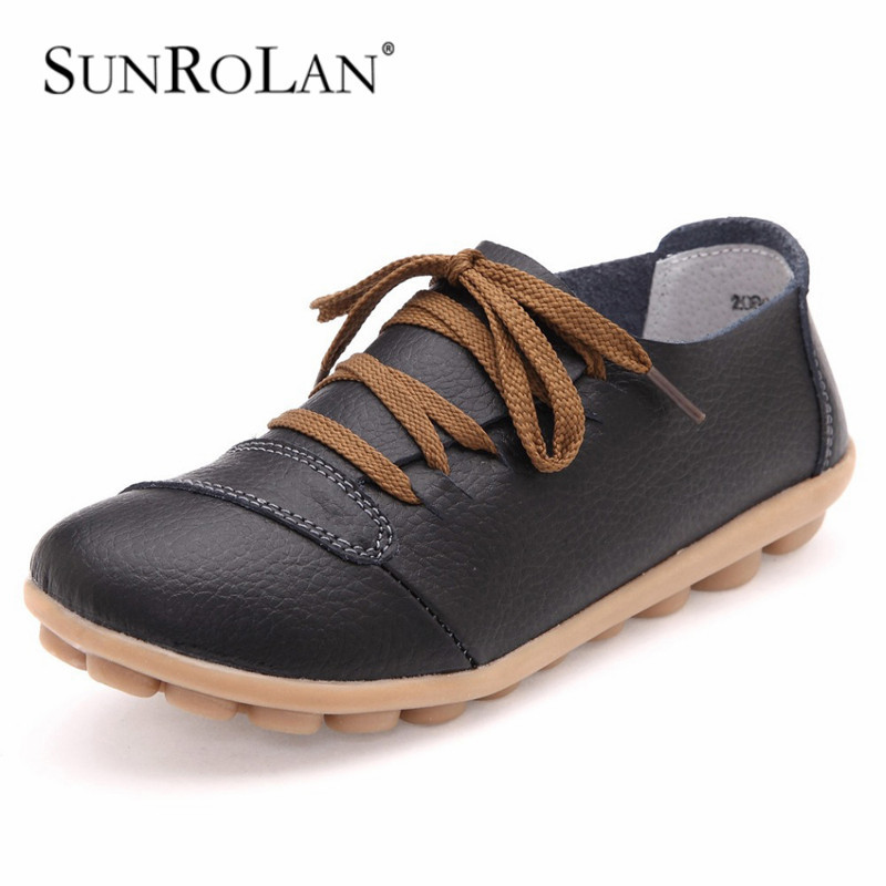 women genuine leather flats womans flat causal nurse shoes  womens round toe flexible driving walking loafer 2080<br><br>Aliexpress