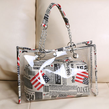 Woman Fashion 2015 Designers Inspired Handbag Famous Brands Beach Bags Waterproof Transparent PVC Shoulder Hand-held Tote Casual(China (Mainland))