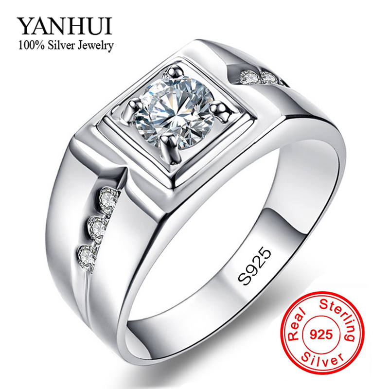 90% OFF!! Classic Men Ring 925 Solid Silver Wedding Rings for Men Set 1 Carat CZ Diamond Engagement Ring Jewelry Wholesale RJ29N(China (Mainland))