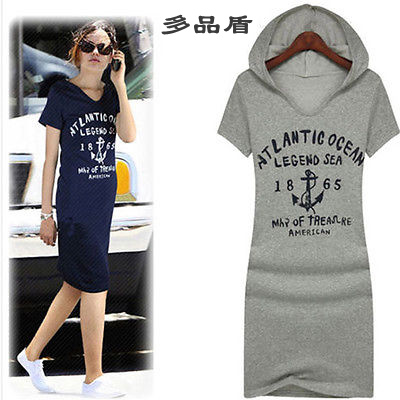 Hooded Hedging Gray And Blue New Women' V-neck Casual Letter Print Short Sleeve Cotton Fitted Mini Dress(China (Mainland))