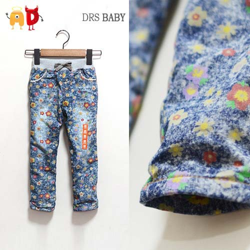 Buy ad 2 7y floral girls jeans soft for Fabric for kids clothes