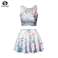 New Casual Party 2 Piece Set Elegant Floral Print Ball Gown Vs Love Pink Women Suits