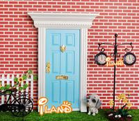 iland 1:12 Dollhouse Miniatures Lovely Fairy Doors Light Blue Exterior Door W/ Metal Accessories Exquisite