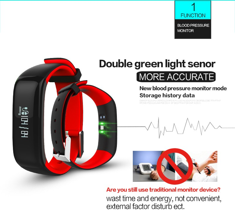 P1 Smartband Watches Blood Pressure Bluetooth Smart Bracelet Heart Rate Monitor Smart Wristband Fitness for Android IOS PhoneT3