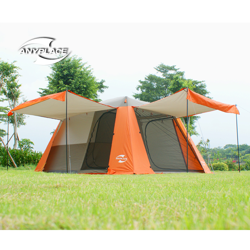 2016new 3-4people  family camping tent automatic tent one bedroom&amp;one living room double  seasons;free shiiping <br><br>Aliexpress