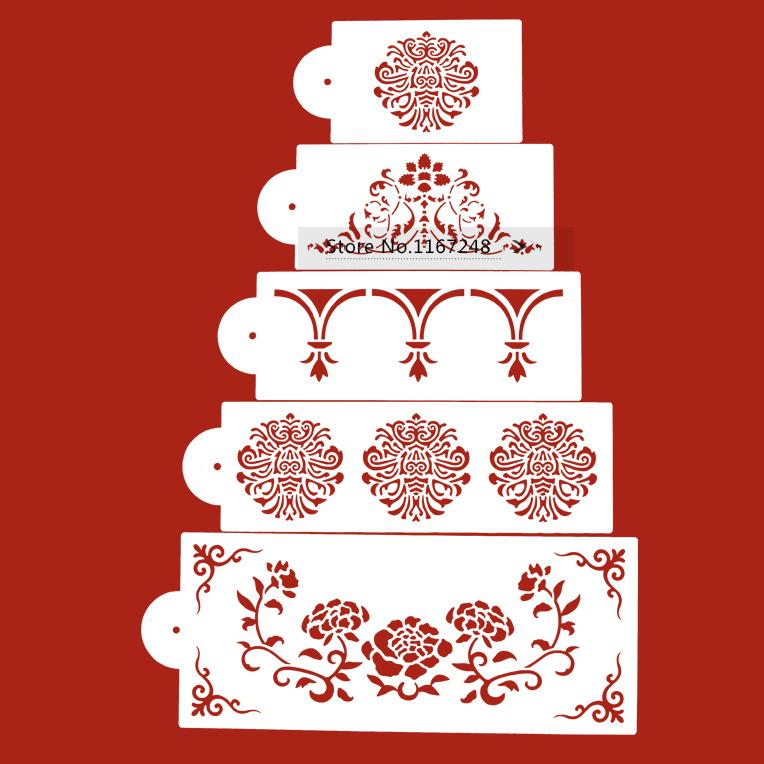 Cake Decorating Stencils : 5pcs/Lot Cake Spray Stencils Fondant Cake Decorating Tools ...