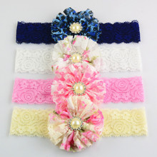 300pcs/lot Princess lace Hairbands with pearl