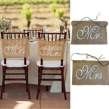 Buy 1 Set Mr Mrs Burlap Chair Banner Set Chair Sign Garland Rustic Wedding Party Decoration for $3.32 in AliExpress store