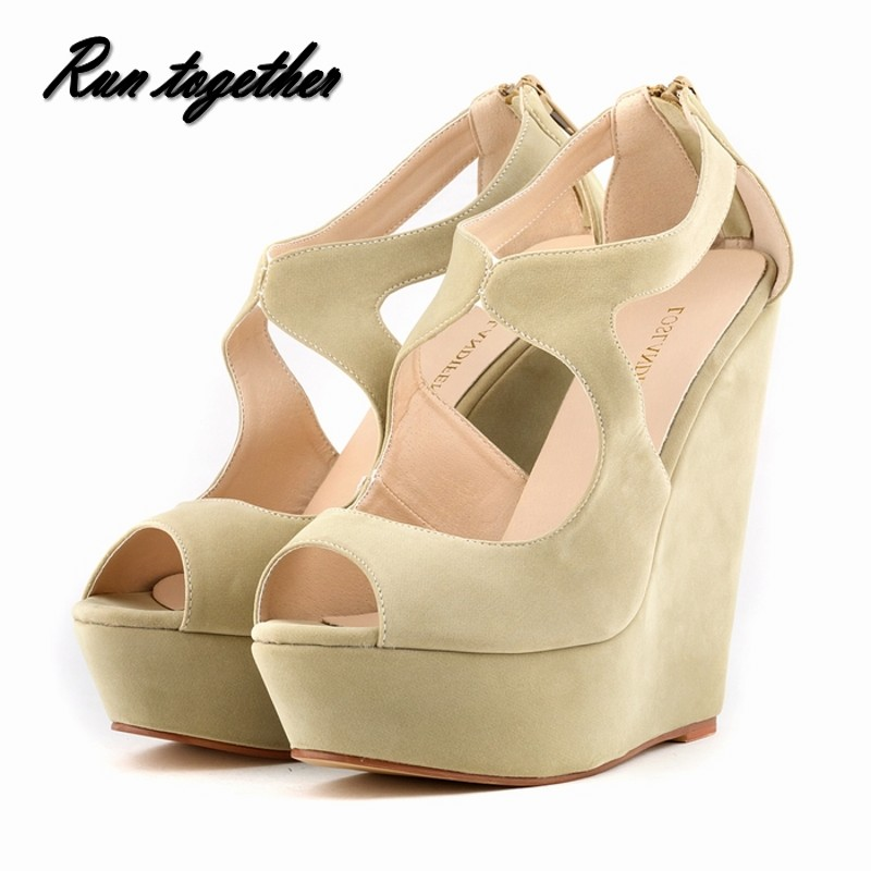 Free shipping New fashion summer women high heels sandals shoes woman wedge peep toe platforms gladiator pumps size 35-42<br><br>Aliexpress