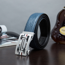Promotion Adult Special Style Solid Blue Men's Fashion Genuine Leather Men Belt Cowskin High Quality Alloy Auto Lock Buckle(China (Mainland))