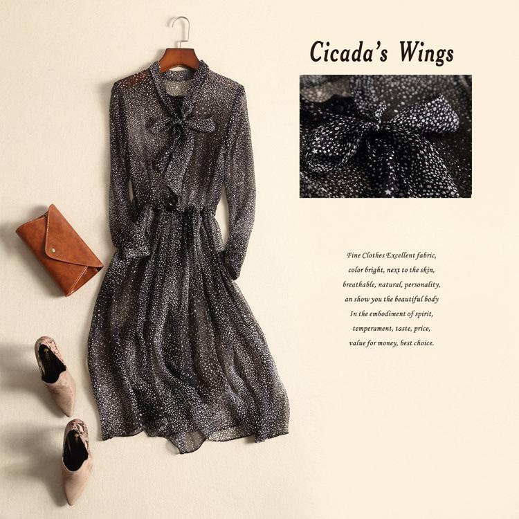 Summer dress 100% silk black star print dress fashion long sleeve knee length dresses elgent women dress printed clothing