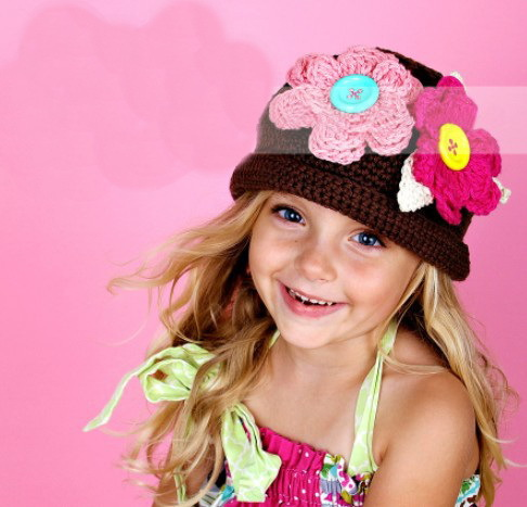 Crochet Slouchy Hat girl Crochet Flower Hat Chunky Crochet Hats Winter Summer beanie caps girl Accessories Hair(China (Mainland))