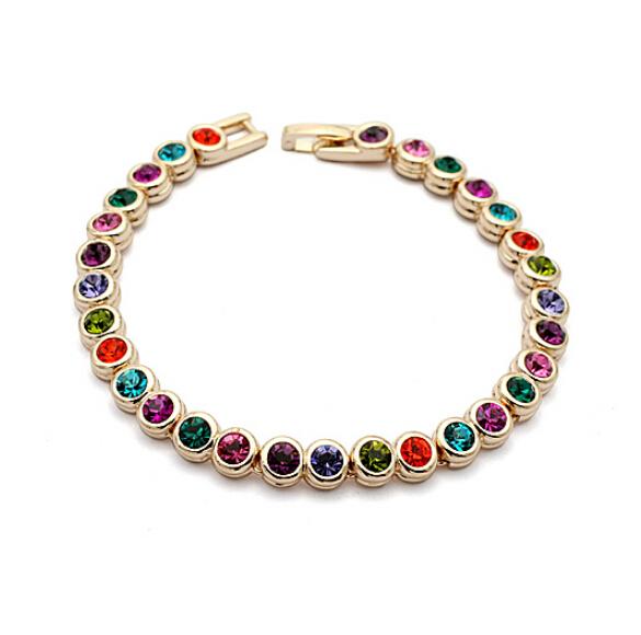 Multicolour Crystal 18K Rose Gold Plated Bracelet Jewelry Made Genuine Austrian IBC045 - szwxfx store (MOQ:15USD store)