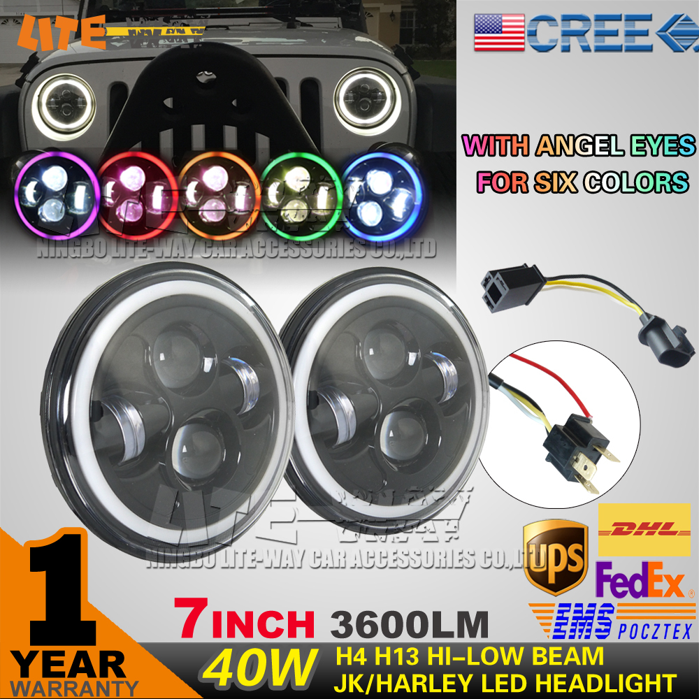 Pair 7 Inch 40W DRL headlight with angel eyes with HI/LO beam 18W fog light replacement kit with cree led head headlight(China (Mainland))